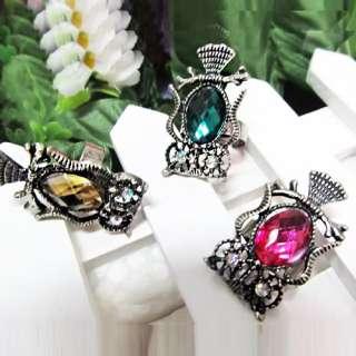 Crystal Gemstone Owl Finger Ring Adjustable Women Jewelry Gift