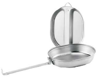 130 NEW GI TYPE STAINLESS STEEL MESS KIT   LIGHT AND DURABLE