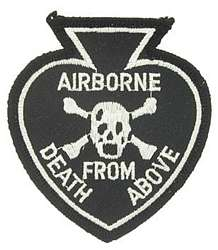 ARMY AIRBORNE DEATH FROM ABOVE SKULL CROSSBONES PATCH