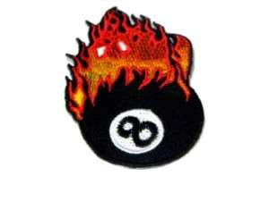 EIGHT BALL FIRE POOL HOT IRON ON PATCH EMBROIDERED I141