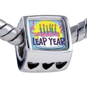 Pandora Style Bead Leap Year Birthday Cake Photo Heart European Charm