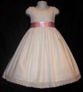Pink SATIN SASH Eyelet PORTRAIT Dress Daisy Kingdom pt