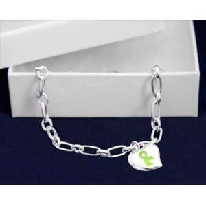 Silver Bracelet Awareness Cancer Ribbon Puffed Heart Lime