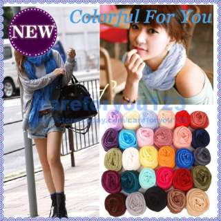 Popular Girls Ladies Accessories Candy Color Transparent Rayon Scarf