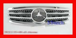 03~06 Mercedes W211 E320 E500 front Grille Grill E55 AMG CHROME 4 FINS