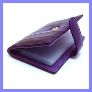 Genuine Eel skin Leather Credit Card Case Holder PURPLE