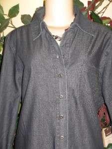 Coldwater creek denim tunic duster jacket Plus 1X 2X 3X
