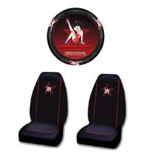 Bucket Seat Cover and Steering Wheel Covver   Betty Boop Star Leg Up
