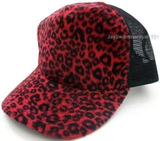 Leopard Print Mesh Trucker Baseball Hat Cap Red Black