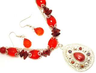 Faux Crystal Red Silver Necklace Earring Jewelry Set