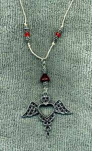 Goth Red Stone HEART WINGS New Hemp Cord Necklace