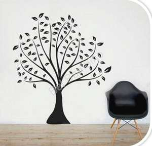 LARGE SIZE BLACK TREE WITH LEAVES   Removable Wall Sticker Home
