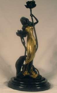 ROMAN WOMAN ART DECO BRONZE SCULPTURE CANDLE HOLDER