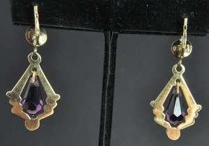 Italian Estate Vtg 18K Gold Amethyst Dangle Earrings