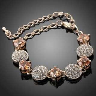 Rhinestone Bracelet Swarovski Crystal 18k Rose Gold Plated
