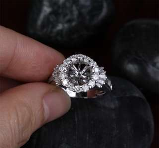 37ct DIAMOND Solid 14K WHITE GOLD Halo Engagement RING SETTING