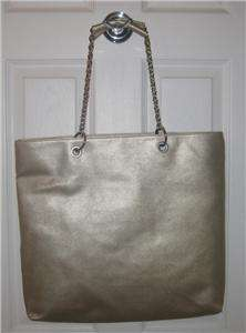 NY & CO SHIMMER GOLD FLOWER TOTE BAG BEACH NWT