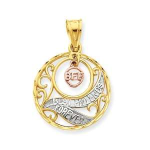 14k Gold Tri color Best Friends Forever Pendant Jewelry