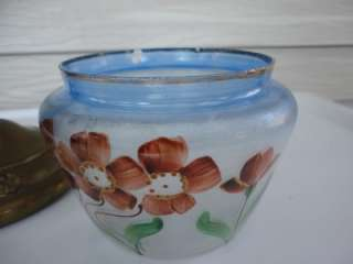 Nouveau Hand Painted Floral Glass Dresser Jar w Brass metal Lid Nice