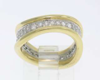 Co. Platinum 18k Gold Wavy FreeForm Pave Diamond Band Ring RARE
