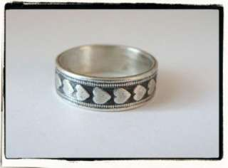 OLD ANTIQUE HALLMARKED STERLING SILVER HEART WEDDING BAND RING