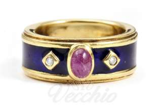 Stern 18k Yellow Gold Ruby Diamonds and Blue Enamel Ring