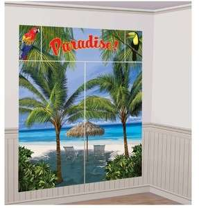 Tropical Luau Parrot Palm Tree Paradise Beach Scene Setter Party Decor