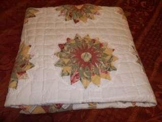 Vintage Fabrics Handmade Sunflower Mariners Compass Quilt Sawtooth