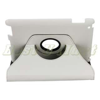 360° White Rotating Magnetic Leather Case Smart Cover Swivel Stand