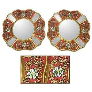 Painted glass mirrors, Florid Rubies (pair)