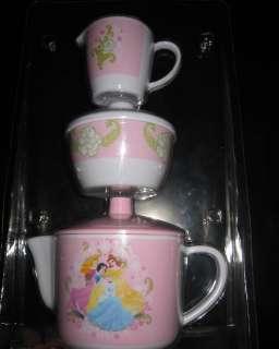 BNIP  Disney Princess 3pc Tea Set Pot, Creamer & Sugar