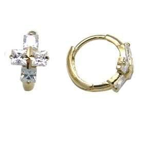 CZ Opulence Cross 14K Yellow Gold Huggie Earrings Jewelry