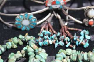 BIG VINTAGE NATIVE ZUNI NAVAJO TURQUOISE CORAL STERLING JEWELRY LOT