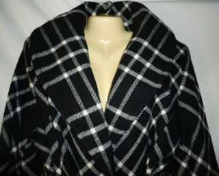 Womens New With Tags Anne Klein black plaid wool blend coat, size 3X.