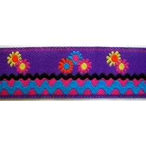 Floral Jacquard Ribbon Trim With Rick Rack Design Multi 1