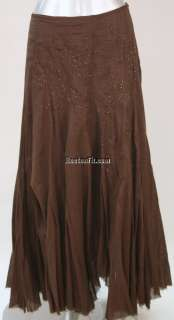 ALBERTO MAKALI BROWN BROOMSTICK BEADED FULL LENGTH SKIRT 6