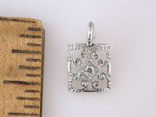 Vintage Antique Art Deco Diamond 18K White Gold Filigree Pendant