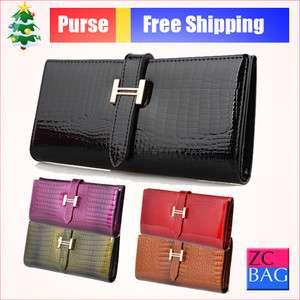 Genuine Leather Womens Standard Long Wallets Card Case Bill Hand Bag