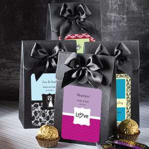 60   Personalized Black Wedding Favor Boxes   Bags