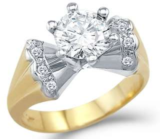 Solid 14k Yellow and White Gold Simulated Diamond Ring
