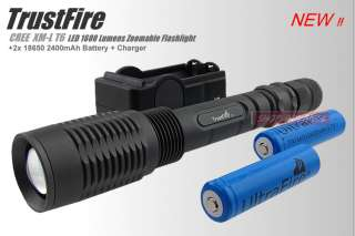TrustFire 1600Lm CREE XML XM L T6 LED Zoomable Flashlight Torch +2x