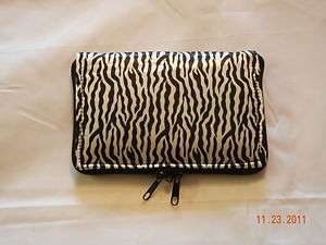 Small Padded Zebra Print Pistol Gun Case Lockable Dual Zippers 8 x 5