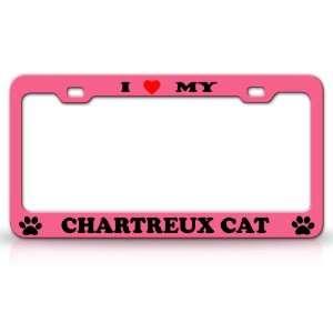 Animal High Quality STEEL /METAL Auto License Plate Frame, Chrome/Pink