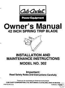 Cub Cadet 42 Snow Blade Operators Manual #302