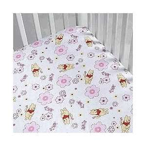 Pooh Baby Girl Crib Sheet ~ Pink Baby