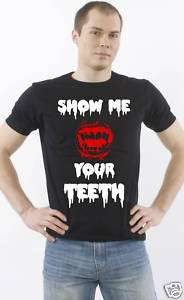 SHOW ME YOUR TEETH lady gaga black slim fit t shirt