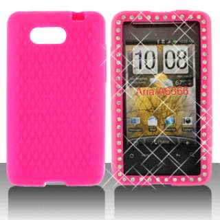 New For AT&T HTC A6366 Aria Phone Hot Pink Some Stone Accessory Skin