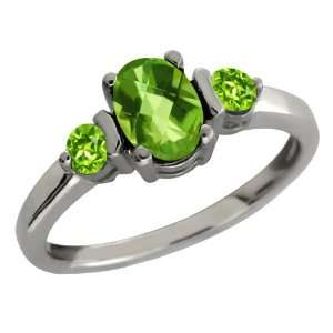 24 Ct Genuine Checkerboard Green Peridot Gemstone Sterling Silver Ring
