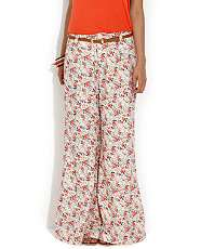 Red Pattern (Red) Parisian Printed Palazzo Trousers  260639569  New