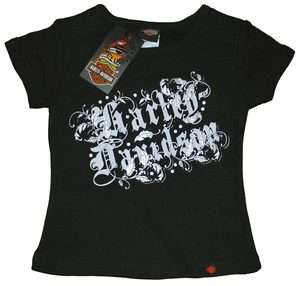 HARLEY DAVIDSON® GIRLS T SHIRT, BLACK & METALIC PRINT, S9YGA75HD NEW
